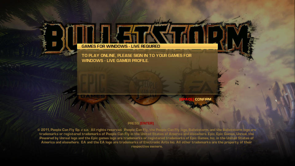Bulletstorm GFWL Prompt